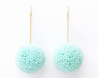 Seafoam Pom Pom Earrings