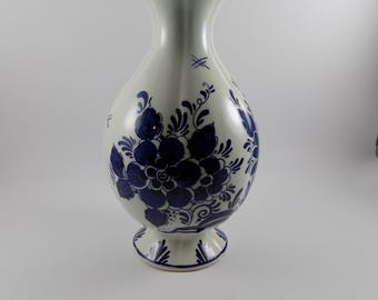 Vintage Royal Distel Vase Blauw Delpts  Hand Painted in Holland