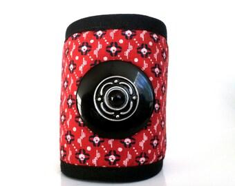Red printed fabric Cuff Bracelet