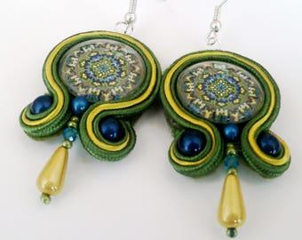 Soutache green mandala earrings