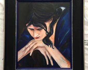 Contemplating lady in blue kimono-acrylic portrait painting-including wooden frame-fine art-portrait-Dim. 40 x 50 cm