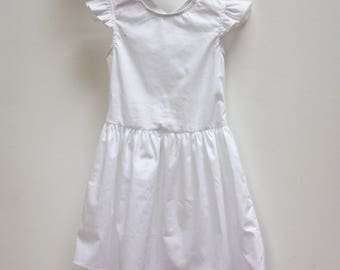 Ceremony wedding or baptism flounced sleeves white girl dress
