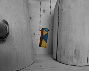 Necklace/pendant rectangular pendant blue/wood and resin