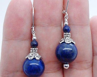 Handmade Blue Lapis Lazuli Gemstone & Silver Leverback Earrings
