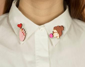 Wooden COLLAR PINS, lasercut: BIGBUBBLE and Lollipop