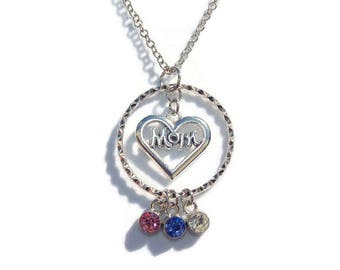 Personalized Mother's Necklace with Birthstones and Mom Charm; Custom Birthstone Jewelry; Mother Gift; Mom Necklace; Christmas Gift for Mom