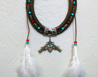 Native American Wall decor, Decorative Horseshoe, Horseshoe Decor, Horseshoe Art, Large Metal Horseshoe, Rustic Horseshoe, , Western Art