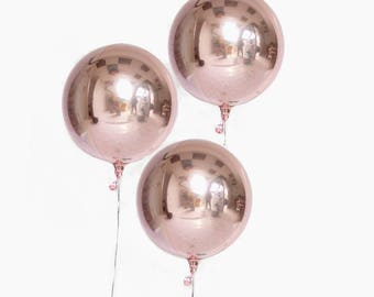 "Round Rose Gold Balloon/ 16"" Sphere Rose Gold Balloons/ Rose Gold Balloon Decor"