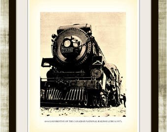 4-8-4 Locomotive, Circa 1937, Canadian National Railway, Sepia Vintage Print, Instant Download, 0144