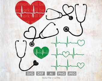 Medical Svg Bundle - Cut File/Vector, Silhouette, Cricut, SVG, png, DXF, Clip Art, Download, Health, Doctor, EKG, Stethoscope, Heart Rate