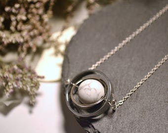 Spinning little planet with 12mm marble stone necklace