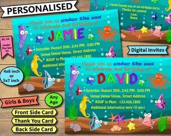 Under the sea Invitation, Under the sea Birthday Invite, Under the sea Birthday Invitation, Under the sea Birthday Party Invite, Sea Party