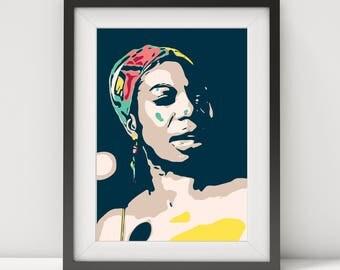 nina simone, nina simone poster, nina simone print-art, nina simone-feeling good, music poster, jazz-blues poster, quote poster, prints