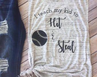 I TEACH MY kid to hit and steel//baseball//muscle tank//baseball humor//bunny baseball quote//cute baseball shirt//funny baseball shirt