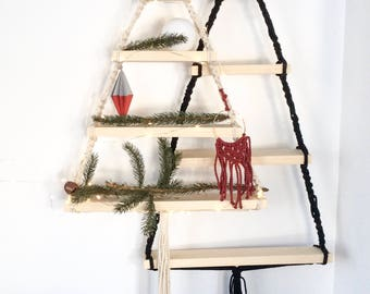Macrame Christmas Tree* Unique christmas decor, wall display, hanging shelf, macrame shelf, macrame wood shelf, macrame ornaments