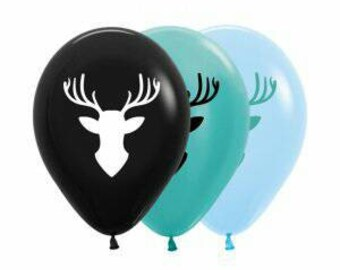 Deer Balloons, cute design of a deer head on balloons, balloon size 30cm, Pkt of 5