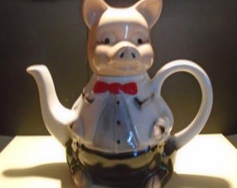 Tony Wood Pottery Master Piggy Teapot, Novelty Teapot, Ceramic Teapot, Figurine Teapot, Decorative Teapot, Teapot Collector, Vintage Teapot