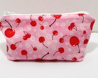 Red Cherries on Pink LARGE Novelty Zipper Pouch makeup bag; pencil case; gift for her; cosmetic bag; carry all; gadget case; birthday