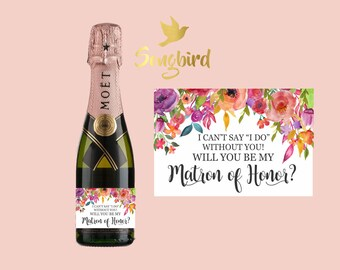 Will You Be My Matron of Honor Maid of Honor Bridesmaid Mini Wine Champagne Bottle Label Proposal Gift Label Watercolor Floral Gold Black