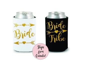 Bride Tribe Drink Coolers Bachelorette Party Favors Gold Glitter Drink Cooler Favors Bachelorette Survival Kit Bottle Can Holders Stagette