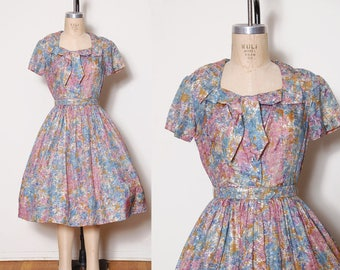 Vintage 50s floral fit and flare dress / belted dress / pleated dress / ascot bow / pin up dress