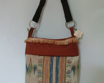 fringes and rust flowers bag