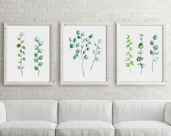 Silver Dollar Eucalyptus, Watercolor Set of 3 Prints, Botanical Drawing, Nature Art, Minimalist Abstract Plant Leaves Painting