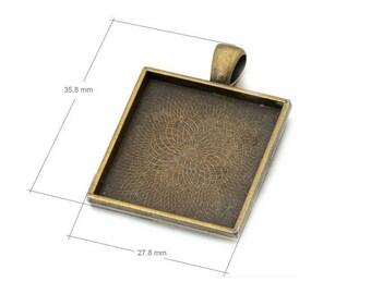 100PCS 1 inch 25mm Square Pendant Trays-Bezel Cabochon Setting Blank-Square Bezel Trays-25mm Cabochon Setting Blank-Bezels Cabochon Tray