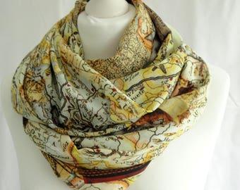 Vintage maps print infinity scarf, Circle scarf, Map print scarf, Print scarf, Lightweight scarf, Fashion scarf