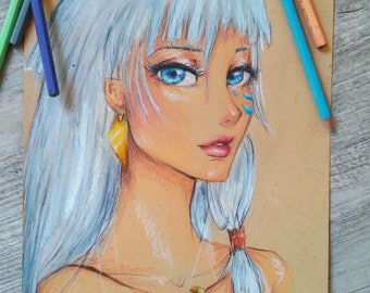 Colored Pencil drawing of Princess Kida