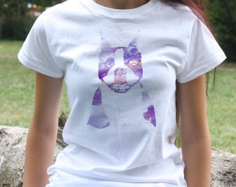Boston terrier T-shirt - Dog Tee - Fashion women's apparel - Colorful printed tee - Gift Idea