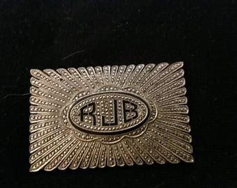 Diamante, unusual silver plated vintage pendant.