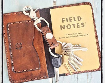 Bifold men's wallet field notes cover with pen slip and initials