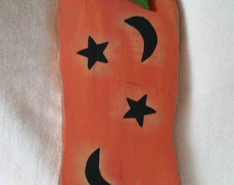 Wood Pumpkin with Hand Painted Moons & Stars