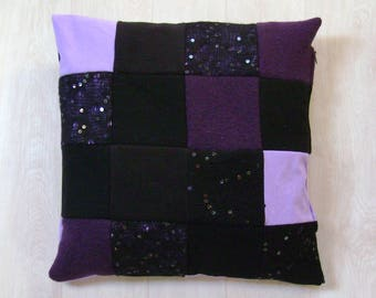 Black and purple patchwork Cushion cover