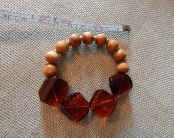 amber and wooden bead bracelet on stretch cord
