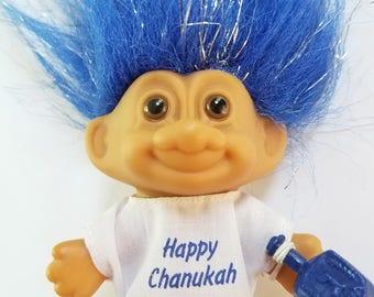 Vintage Happy Chanukah Troll with Dreidel - Hanukkah