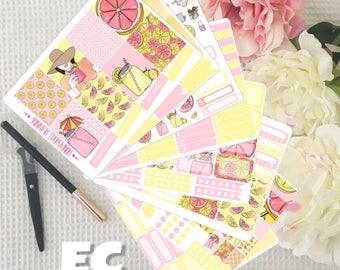 Pink Lemonade Weekly Planner Sticker Kit