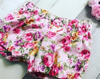Floral shorts,roses, flower, rose shorts, children's shorts, girls shorts, baby clothes, rose bloomers, bloomers, baby bloomers baby floral