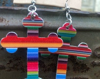 Serape Cross Earrings