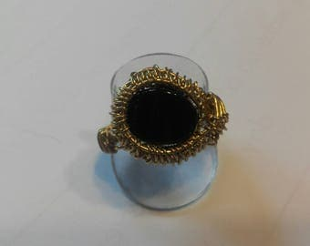 Black agate and brass wire wrap ring.