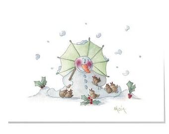 Happy Garden X4-Cuddly Snowman  Christmas Card