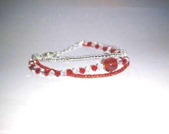 Bracelet acrylic pearls and Pearl seed beads