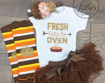 Baby Girl Thanksgiving Outfit Fresh Outta the Oven Newborn girl set Baby girl Coming home outfit Fresh out the oven onesie fall girl outfit