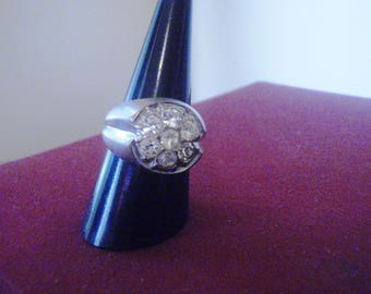 vintage 18kt HGE VARGAS  cz ring large statement ring size 8