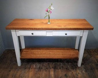 Rough Sawn Oak Kitchen Island, Wood Farmhouse Table, Gray Chalk Paint Finish