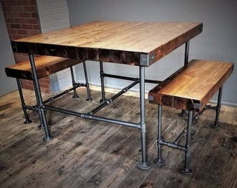 Counter Height Rustic Industrial Table & Bench Set, Steel Pipes, Thick Butcher Block Wood, Steampunk Pub Dining Set