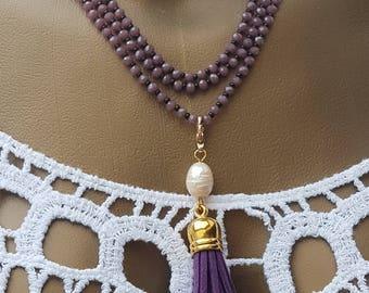 necklace long beaded necklace tassel  Elegant beaded necklace beading Jewelry Handmade Modern  Czech beads cotton thread violet beads purple