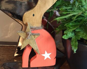 Wooden Easter Rabbit / Hare with star design & wooden hanging star round neck
