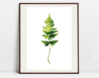 Fern Art Botanical Print , Leaf Watercolor Painting, Fern Green Illustration, Digital Download Art Print